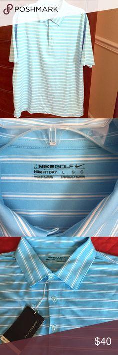 NikeFitDry Golf Shirt Brand New w/tags NikeGolf shirt. UV Protective. Dri-Fit fabric. Blue with white stripes. Nike Shirts