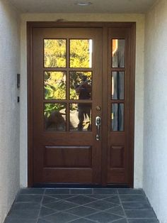 Steves & Sons 68 in. x 80 in. Savannah 6 Lite Stained Mahogany Wood Prehung Front Door with Sidelites M6410-143014-CT-4IRH at The Home Depot - Mobile