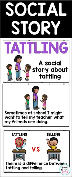 A social story teaching students about tattling. This social story teaches about what tattling is as well as what telling is. Great for classroom social skills lessons. Social Skills Lessons, Social Skills Activities, Teaching Social Skills, Social Emotional Learning, Life Skills, Coping Skills, Classroom Activities, Teaching Ideas, Classroom Ideas
