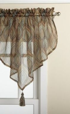 Amazon.com: Lorraine Home Fashions Plumage Sheer 58-inch x 24-inch Ascot Valance: Furniture & Decor