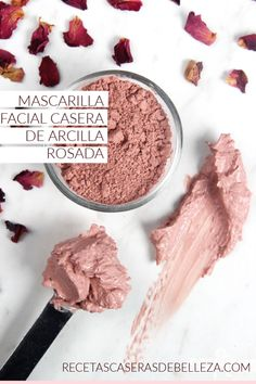 This Rose Clay Face Mask recipe is great for dry or mature skin. Rosehip seed oil, chamomile extract and rose absolute create a luxurious clay face mask. Natural Hair Mask, Natural Skin Care, Natural Beauty, Lotion, Avocado Face Mask, Clay Face Mask, Rose Face Mask, Rose Clay, How To Grow Eyebrows