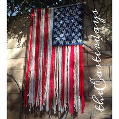 LARGE RUSTIC American Flag with yarn ribbon lace by theeasterdays, $75.00