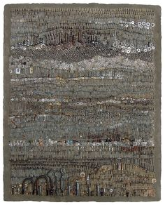 Jo Braun. Threadscape. Cast-off screws, nuts, bolts, tacks, nails and a lot of metal things we don't know the purpose of are woven into a tapestry that is as soothing to the soul as a well-worn Kilim.
