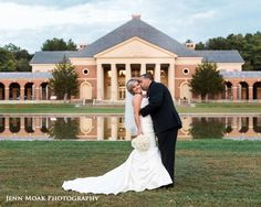 Sweet photo of the happy couple on the lawn of the Hall of Springs. Photo Credit - Jenn Moak Photography