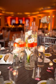 Calla Lily Centerpieces 275x412 Washington DC Wedding Reception: Clarisse + Gary
