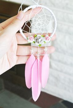 Pink and Grey Floral Dreamcatcher: Car Dreamcatcher Pink and