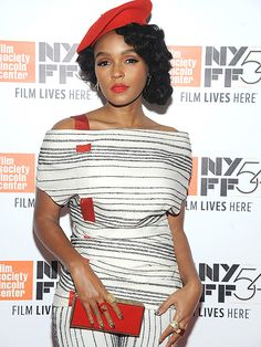 Star Tracks: Monday, October 3, 2016 | POP OF COLOR | Janelle Monáe complements her black-and-white ensemble with bright red accessories while attending the New York Film Festival.