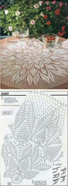 54 Trendy Ideas for crochet lace tablecloth ideas table runners Free Crochet Doily Patterns, Crochet Doily Diagram, Crochet Mandala, Crochet Chart, Crochet Motif, Crochet Designs, Crochet Round, Crochet Coaster, Knitting Patterns