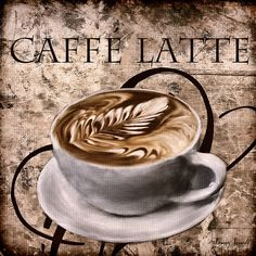 Caffe Latte - A wonderful Collection of Coffee Art which is elegantly and classically designed to complement any cafes, modern, contemporary and traditional kitchens perfectly. I Love Coffee, Coffee Break, Coffee Girl, Café Vintage, Vintage Photos, Café Chocolate, Decoupage, Coffee Facts, Coffee Shop Design