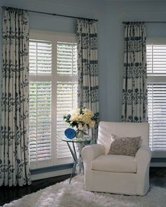 Window Treatments with Plantation Shutters. Can't decide if Plantation shutters even really need curtains. If so, 2 small rods on each side, not across the top? Shutters With Curtains, Interior Window Shutters, Wood Shutters, Cafe Shutters, Bedroom Shutters, Small Basement Remodel, Basement Remodeling, Basement Ideas, Dark Basement