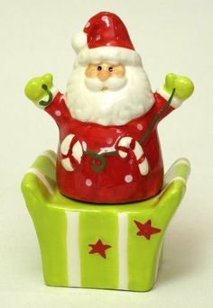 Ceramic Santa/gift Box Salt & Pepper Set by International Wholesale Gifts & Collectibles. $16.50. Ceramic Santa/Giftbox Salt & Pepper Set, Santa is the pepper and the gift box is the salt shaker, measures 2.75 X 4.5 X 2.