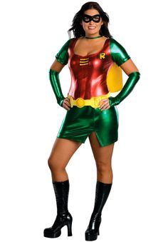 Plus Size Robin Girl Costume DressCapeBeltMaskGlovesHoly sexy costume, Batman! This sexy Robin costume features a shiny dress with a red torso and green sleeve Robin Girl Costume, Robin Halloween Costume, Batman And Robin Costumes, Girl Costumes, Adult Costumes, Costumes For Women, Batman Halloween, Adult Halloween, Costume Ideas