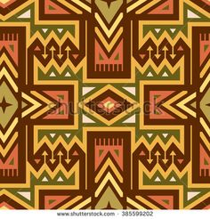 Vector Seamless Tribal Pattern for Textile Design. Colorful Ethnic Print with Mix of #Rhombuses, Triangles and Stripes