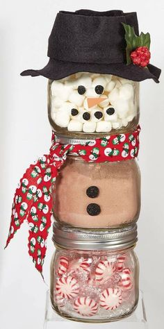 Ball Jar Snowman from joannstores DIY Jar Gift Peppermint Hot Chocolate Jar Mason Jar Gifts Mason Jar Christmas Gifts, Mason Jar Gifts, Homemade Christmas Gifts, Homemade Gifts, Gift Jars, Mason Jar Snowman, Coworker Christmas Gifts, Neighbor Gifts, Homemade Food