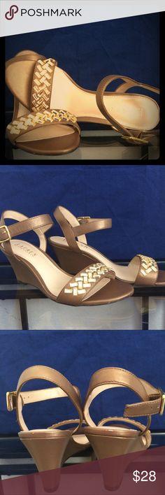 Ralph Lauren Gold  Wedge Sandle Please see photos Size 7B Shoes Sandals