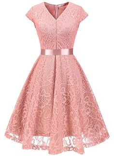 Women V-Neck Floral Lace Dress Belted Cap-Sleeve A Line Cocktail Work Office Party Dress pink Vintage Party Dresses, Cheap Party Dresses, Cheap Dresses Online, Cute Dresses, Casual Dresses, Fashion Dresses, Skater Dresses, Dresses Dresses, Dress Online