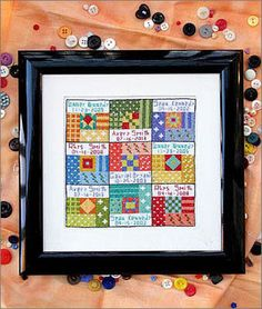 quilt squares with your grandchildrens names and birthdates.  Cute idea