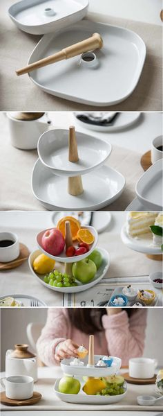 2-Tier Ceramics Fruit Bowl