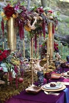 Gold candles and tall floral centerpieces | Seen Photography | see more on:  http://burnettsboards.com/2015/05/bold-floral-inspired-wedding-editorial/