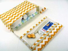 Diaper Clutch with clear zipper pouch --  Antique Gold Chevron