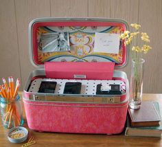 Vintage Train Case Charging Station