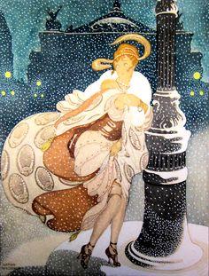 A Snowy Night At The Paris Opera, by Gerda Wegener, circa 1930. 1stdibs