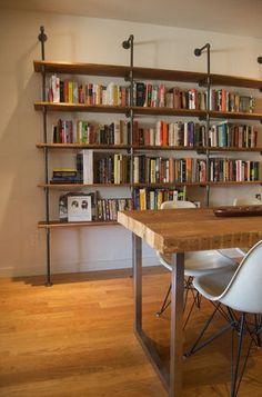 super ideas for diy shelves bookshelves apartment therapy Diy Bookshelf Design, Pipe Bookshelf, Diy Wood Shelves, Industrial Bookshelf, Bookshelves Built In, Bookshelf Ideas, Hanging Bookshelves, Industrial Style, Vintage Industrial