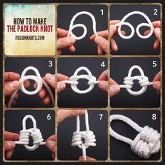 The Padlock Knot - Step-by-Step (image) Instructions 💜 - Written instructions feat. in my book, Decorative Fusion Knots. How to make the padlock knot - Tutorial Essential Knots for Camping, Survival and Backpacking Knot tying can have many benefit Rope Knots, Macrame Knots, Tying Knots, Paracord Projects, Macrame Projects, Bracelet Knots, Paracord Bracelets, Couture Cuir, Survival Knots