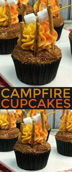 Cupcakes These Campfire Cupcakes are a fun summer treat. What an adorable dessert to take along for a camping trip or camping themed party.These Campfire Cupcakes are a fun summer treat. What an adorable dessert to take along for a camping trip or camping Diy Dessert, Low Carb Dessert, Dessert Party, Dessert Ideas For Party, Dessert Oreo, Dessert Recipes For Kids, Dessert Dishes, Desert Recipes, Campfire Cupcakes