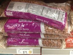 Pink beans, dry, 1 lb, from Safeway Kitchens.  12 Servings. Per Serving. Fat 0g. Fiber 15g. Sugars 2g. Protein 8g.