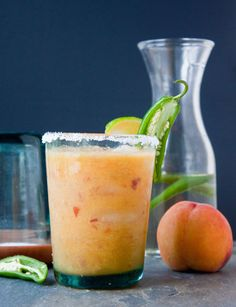 Peach Jalapeño Margaritas, Oh how I love Margaritas | via Dessert for Two