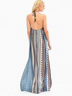 Bohemia Halter High Slit Backless Maxi Dress - COLORMIX 2XL