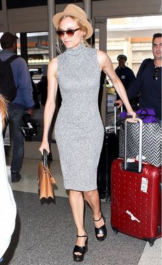 a23a2afaa315 Diane Kruger wearing a sweater dress and chunky sandals Street Style