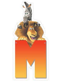 Lion and Zebra letter M letter