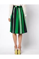 Asos Collection Midi Skirt in Stripe in Multicolor (greenblue) - Lyst
