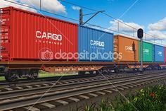 Pociąg towarowy z kontenerów — Zdjęcie stockowe © scanrail #8643721