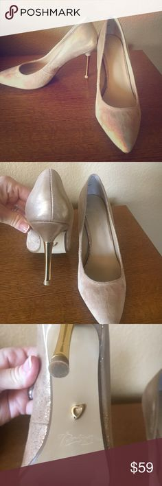 Nude suede heals 8.5 I bought these at Macy's and only wore them once to a party. They look brand new with just normal wear on bottom. Gold heal makes them so pretty. Thalia Shoes Heels
