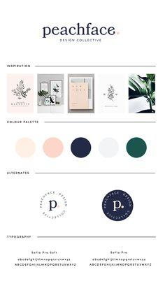 Peachface Design Collective brand and moodboard Brand Identity Design, Branding Design, Corporate Branding, Design Packaging, Identity Branding, Corporate Design, Brochure Design, Visual Identity, Site Web Design