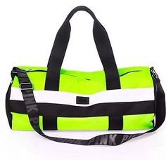Nwt Victoria Secret PINK Weekender Duffle Gym Bag Tote Adjustable Neon Yellow