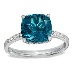 9.0mm Cushion-Cut London Blue Topaz and Diamond Accent Ring in Sterling Silver - Size 7