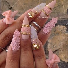 Matte pink + Gold Details Stiletto Nails