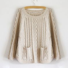 Stylish Loose Fitting Scoop Neck Double Pocket Cable Knit Women's Sweater