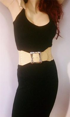 WOMEN BEIGE WAIST FASHION ELASTIC BIG BOW BELT WITH WIDE BUCKLE AND RHINESTONES US $14.95 FREE Standard Shipping