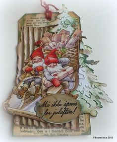 Christmas card tag fjøsnisse vintage