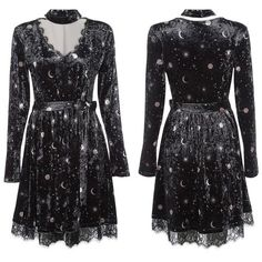Gothic Moon V-Neck Velour Dress