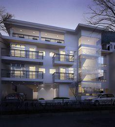 Exterior Night Scene Building by wackywacadoo