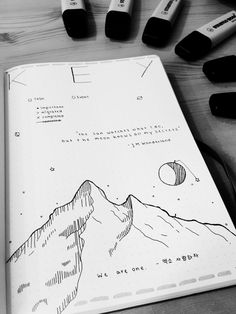 #bulletjournal #mountain #drawing #key #moon #quote #highlighter #stationery