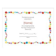 preschool certificate template free