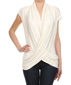 Loving this One Fashion Ivory Drape Surplice Top on #zulily! #zulilyfinds