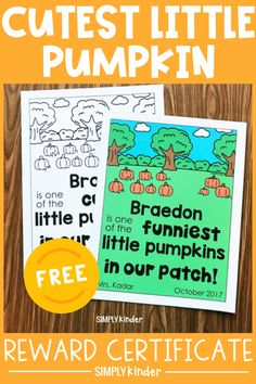 Celebrate your kinders for awesome work with a cute fall pumpkin certificate! This free printable is easy to get and editable, so use it however you would like to acknowledge all things! Use this as a great way to pump up your pumpkin unit, by rewarding them with a pumpkin certificate! Get your FREE printable here!